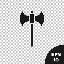 Black Medieval Axe Icon Isolat...