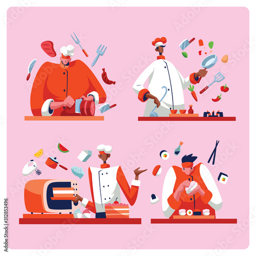 Photo  Chef Man Cooking In Action For Different Food Set Vector Flat Illustration