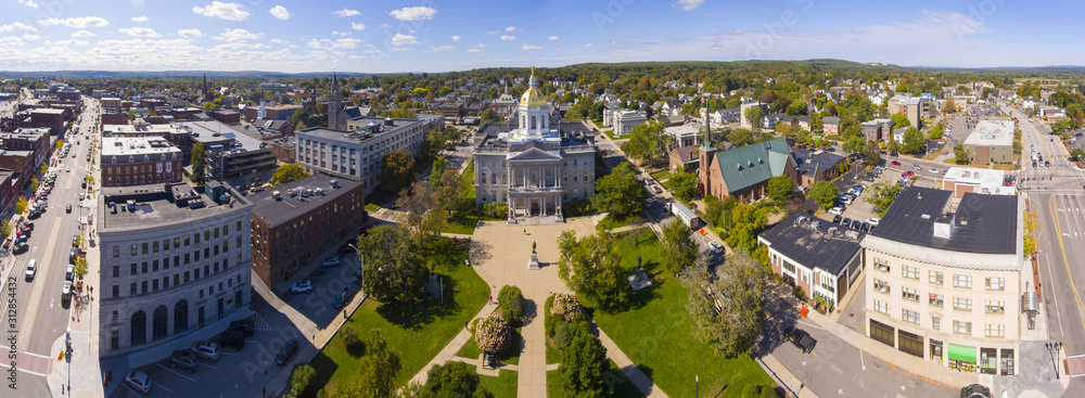 Fototapeta New Hampshire State House aerial view panorama, Concord, New Hampshire NH, USA. New Hampshire State House is the nations oldest state house, built in 1816 - 1819.
