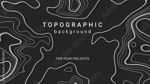 Photo Topographic background and texture, abstract monochrome image