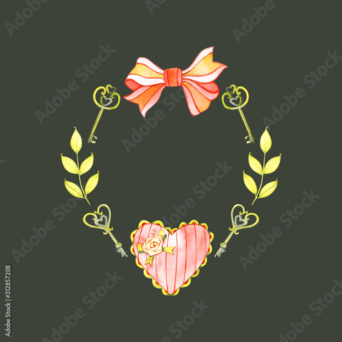 Romantic watercolor design elements. Red hearts for love. Valentine's day. Watercolor illustration