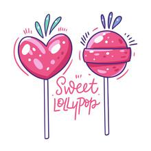 Sweet Pink Lollypop. Hand Drawn Vector Illustration. Flat Cartoon Style.