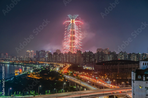 Fireworks and Seoul Festival 4 May 2019 South Korea Canvas Print