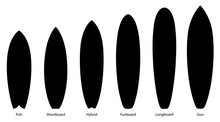 Set Of Black Silhouettes Of Surfboards, Vector Illustration