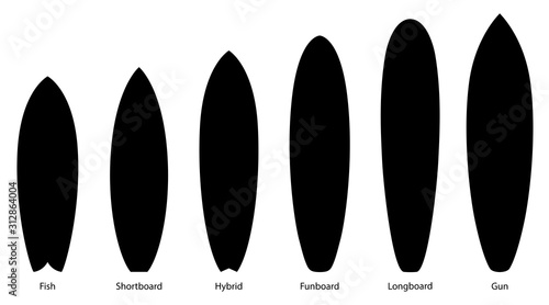 Set of black silhouettes of surfboards, vector illustration Canvas