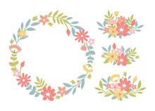 Cute Flower Wreath And Arrangement Set, Flat Floral Illustration