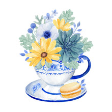 Watercolor Floral Illustration, Beautiful Yellow Floral Bouquet, Succulent And Sweet Macaroon In A Cup