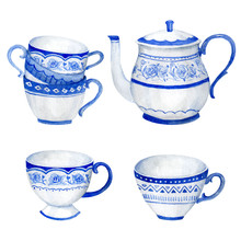 Classic Blue Ceramic Teapot And Teacup, Watercolor Hand Painted