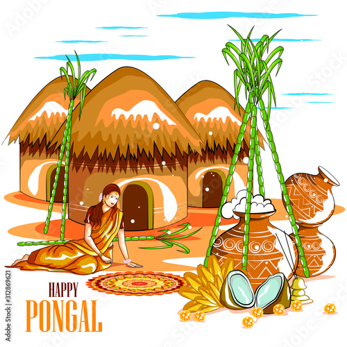 Fototapeta  easy to edit vector illustration of Happy Pongal festival of Tamil Nadu India ba