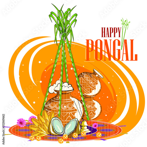 Obraz na plátně  easy to edit vector illustration of Happy Pongal festival of Tamil Nadu India ba