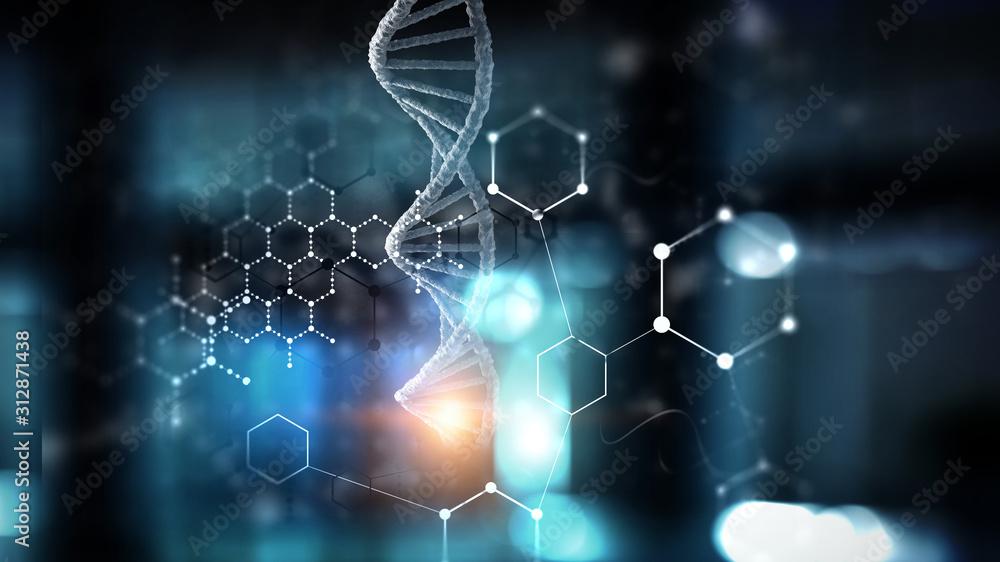 Fototapeta DNA molecules on the beautiful backdrop