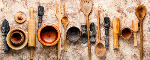 Cuadros en Lienzo Set of wooden cooking utensils