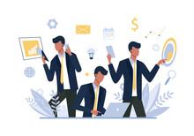 Multitasking Businessman, Office Worker Flat Vector Illustration