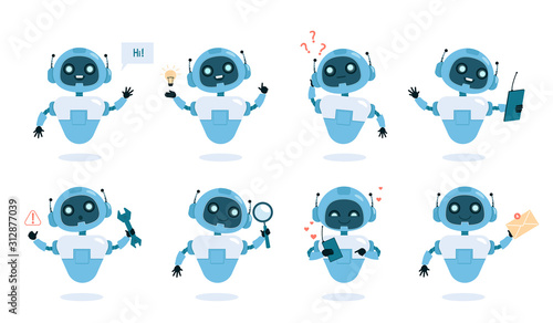 Chatbot functions and abilities flat vector illustrations set Canvas Print