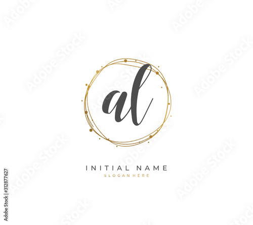 Photo Handwritten letter A L AL for identity and logo