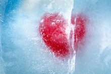 Red Heart Frozen In Ice With A...