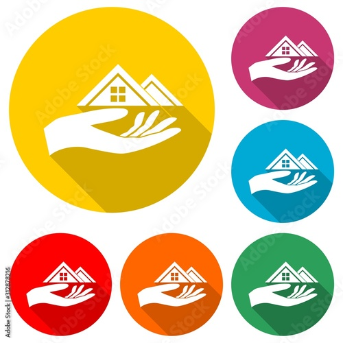 Real estate offer hand icon with long shadow Wallpaper Mural