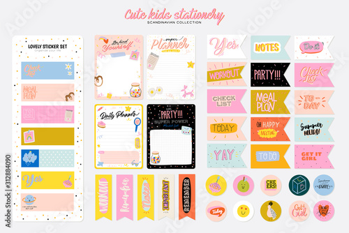 Fotografia Collection of weekly or daily planner, note paper, to do list, stickers templates decorated by cute kids illustrations and inspirational quote