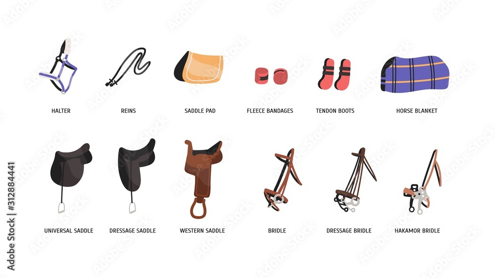 Fototapeta Horse riding outfitting flat vector illustrations set. Saddles, bridles and accessories. Equestrian sport attributes. Horseback riding convenience and safety facilities isolated on white background.