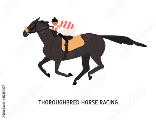Leinwand Poster Thoroughbred horse racing flat vector illustration