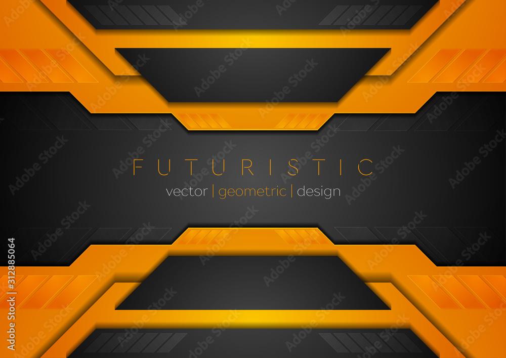 Fototapeta Orange black tech corporate geometric abstract background. Vector design