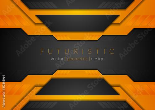 Fototapeta Orange black tech corporate geometric abstract background. Vector design obraz