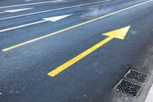 Arrows Road Marking On Empty Asphalt Urban Road