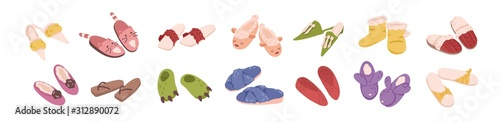 Slippers collection flat vector illustration Wallpaper Mural