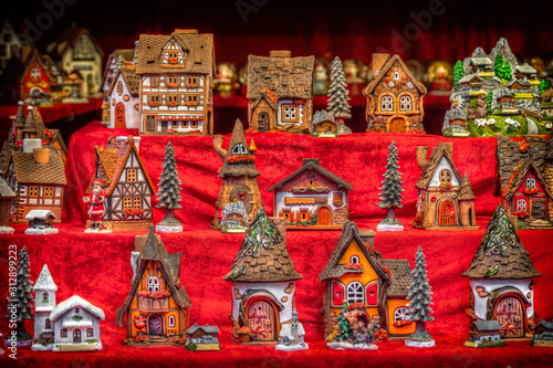 toy houses for childrens in vintage toy store christmas shop showcase Canvas Print