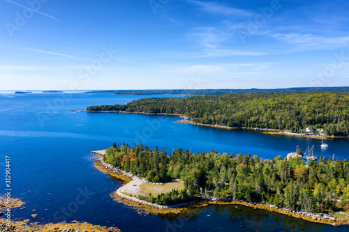 Fotografia Aerial view of bay in Nova Scotia, Canada