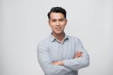 Smart asian business man on white