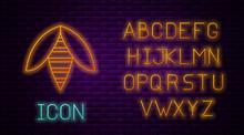 Glowing Neon Line Bee Icon Iso...