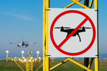No Drone Zone Sign On Approach Lighting System At Runway. Airport Airspace Perimeter Prohibition Drones Fly Sign.