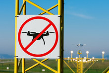 No Drone Zone At Airport Runway. Airport Airspace Perimeter Prohibition Drones Fly Sign.