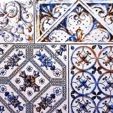 White Ceramic Tiles With Flora...