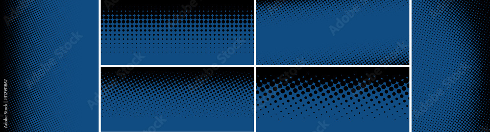 Fototapeta Classic blue swatch composed of halftone dotted patterns.