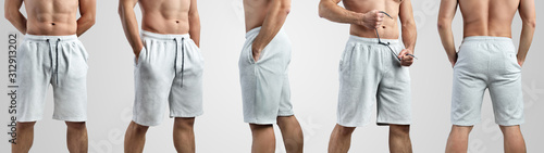 Mockup of white shorts on a man on an isolated background. Canvas-taulu