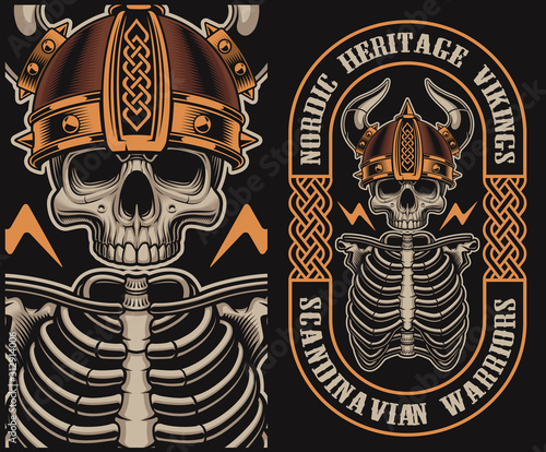 Vector illustration with a viking skull Wallpaper Mural