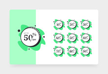 Set Of Discount Price Tags. Badges Template 10 Off, 20, 30, 40, 50, 60, 70, 80, 90 Percent Sale Label Symbols, Discount Promotion Icon.