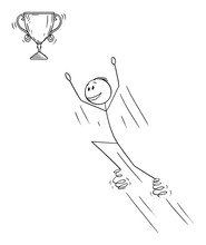 Vector Cartoon Stick Figure Drawing Conceptual Illustration Of Man Or Businessman Jumping On Springs For Victory Trophy Winner Cup.