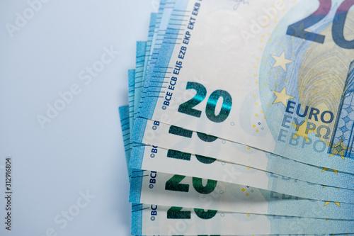 Fotografía Stack of 20 euro banknotes