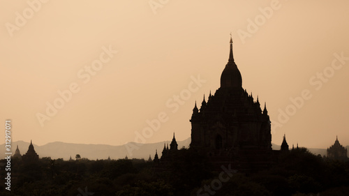 Ancient Buddhist Temples in city of Bagan, Myanmar. Canvas Print
