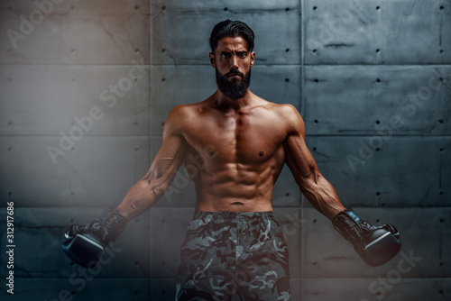 Fotografie, Tablou MMA, Kickboxing, Boxing Men Preparing For Fight