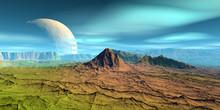 Alien Planet. Mountain. 3D Ren...