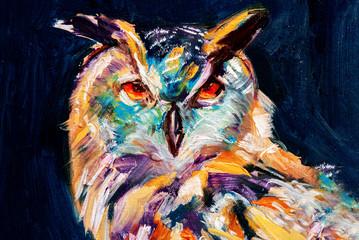 Gufo reale, ritratto di uccello selvatico in olio con colori astratti su sfon...