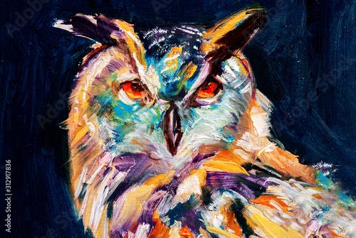 Gufo reale, ritratto di uccello selvatico in olio con colori astratti su sfondo scuro con texture, illustrazione tradizionale