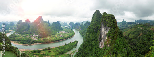 Fototapeta Panoramic landscape of Guilin, Guangxi, China. obraz