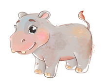 Cute Baby Hippopotamus. Little...