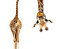 Leinwandbild Motiv Giraffe with long head look upside down on white