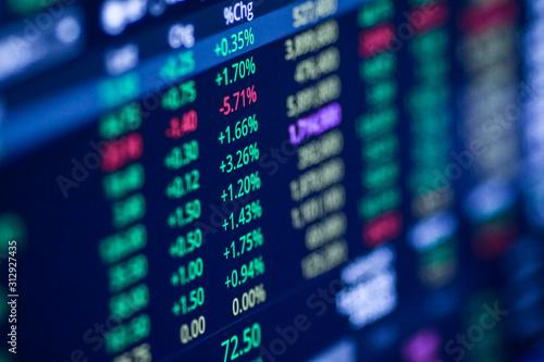 Obraz Stock exchange market chart, Stock market data on LED display. Business analysis concept. - fototapety do salonu